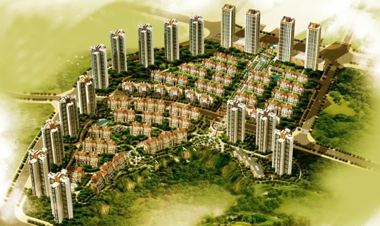 四川天园置地有限公司维多利亚国际社区鸟瞰图-铂宫